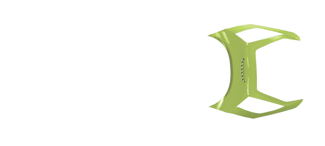 panel b in lime green color, top view