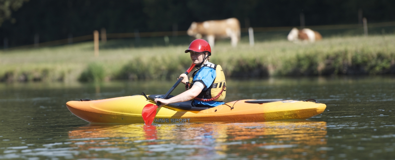 kayaker using ethos kayak